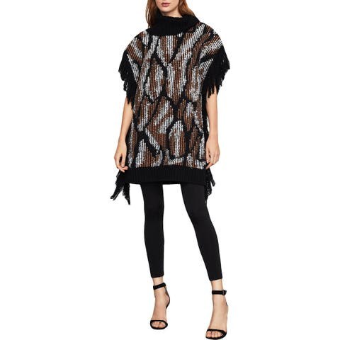 BCBG Max Azria Womens Poncho Sweater Knit Cowl Neck