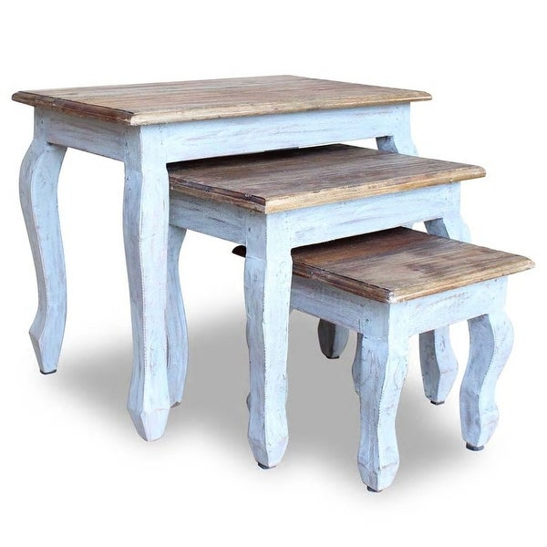 vidaXL Nesting Table Set 3 Pieces Solid Reclaimed Wood