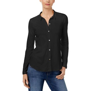 Eileen Fisher Womens Petites Button-Down Top Hi Low Long Sleeve