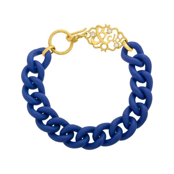 Gold Sisters Blue Link Bracelet with Cubic Zirconia in 14K Gold-Plated Sterling Silver