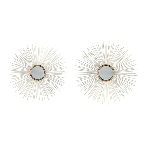 Round Shaped Accent Mirror with Metal Spokes, Set of 2, Gold