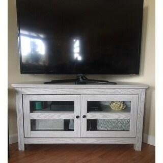 Shop 44 Inch White Wash Wood Corner Tv Stand On Sale