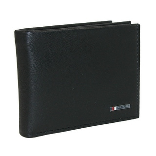 Tommy Hilfiger Men's Leather Lloyd Multi-Card Passcase Bifold Wallet - Black - One Size