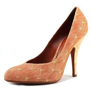 Missoni Raschel Women Round Toe Canvas Orange Heels