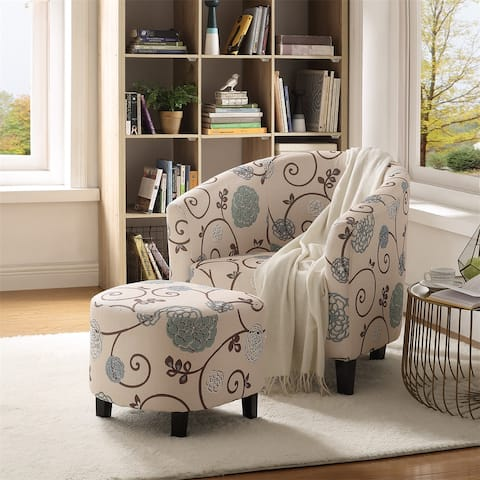 Merax Floral Barrel Accent Chair with Ottoman