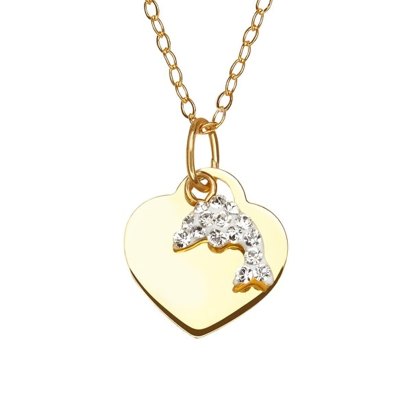Crystaluxe Girl's Heart & Dolphin Pendant with Swarovski Crystals in 14K Gold-Plated Sterling Silver