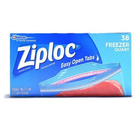 Ziploc 00381 Freezer Bags with Smart Zip Plus Seal, 1 Qt, 38 Count