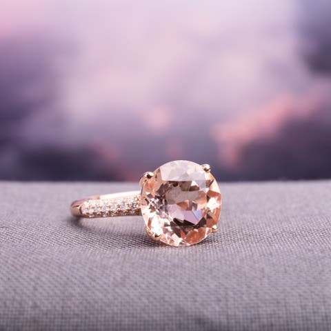 Miadora 14k Rose Gold Morganite and 1/5ct TDW Diamond Cocktail Ring (G-H, SI1-SI2) - Pink