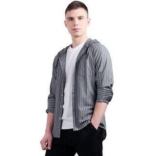 Unique Bargains Men's Long Sleeves Drawstring Striped Hooded Shirt - gray