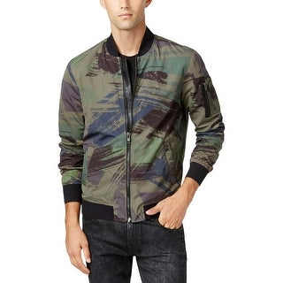 Guess Mens Bomber Jacket Camouflage Zipper - L