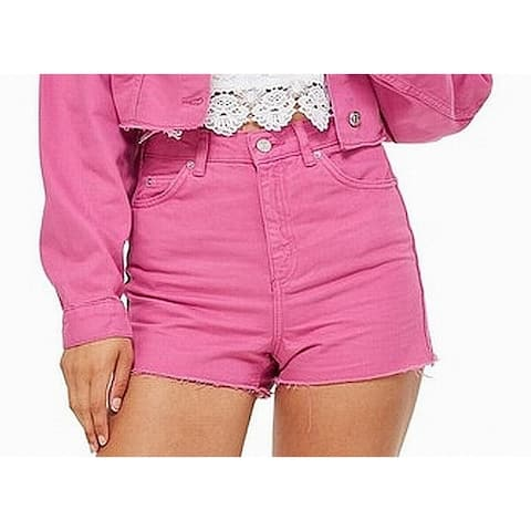Topshop Pink Women's Size 6 Moto Mom High Waist Denim Shorts