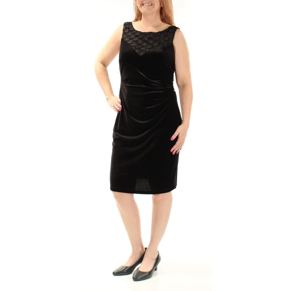 CONNECTED Womens Black Textured Sleeveless Jewel Neck Knee Length Evening Dress Size: 12