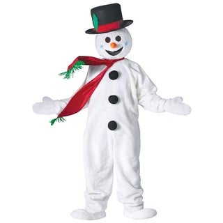White Ultra Plush Jumpsuit Snowman Christmas Suit Costume - Adult Size
