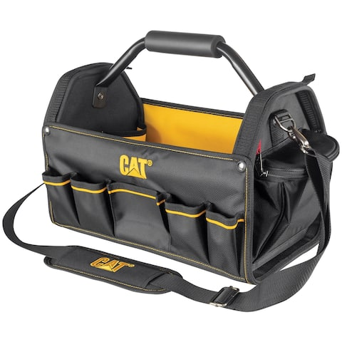 Cat 17 in. Pro Tool Tote Steel Handle 15 Pocket HD 1680D Polyester - 240046