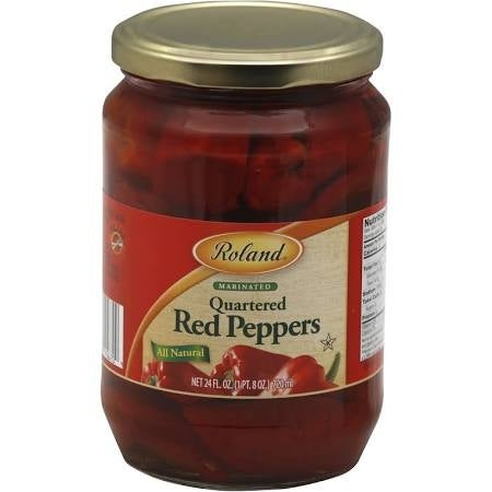 Roland Red Peppers - Quarters - Case of 12 - 24 Fl oz.