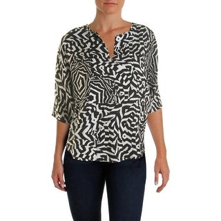 K&C Womens Casual Top Printed Split Collar