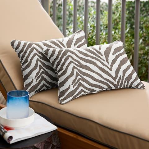Sunbrella Grey Zebra Indoor/Outdoor Pillows, Set of 2, Corded