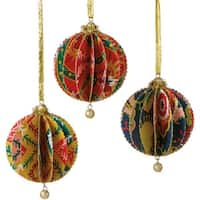 Bohemian Holiday Bright Funky Floral Print Gold Glittered Sliced Ball Ornament 4""