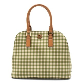 Tory Burch Women's Leather Canvas Handbag Tote Kerrington Gingham Checker Leaf Green - M