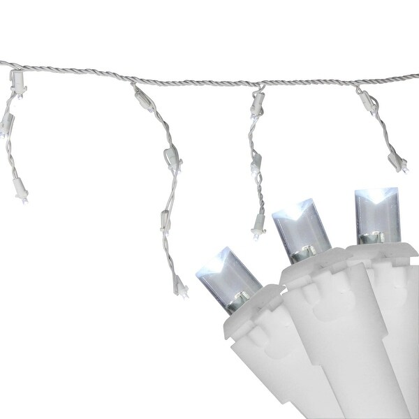 Set of 100 Pure White LED Wide Angle Icicle Christmas Lights - White Wire