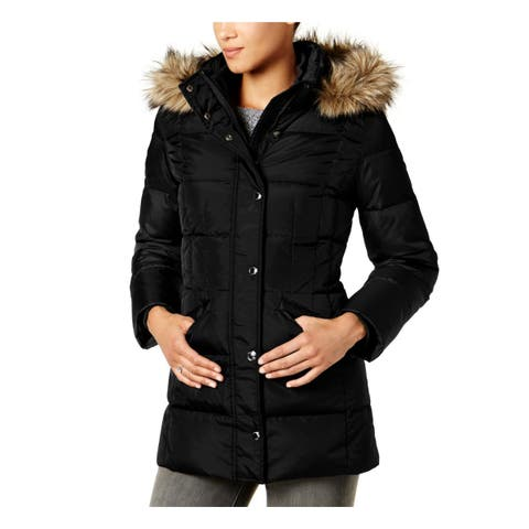 London Fog Womens Down Coat Winter Faux Fur - M