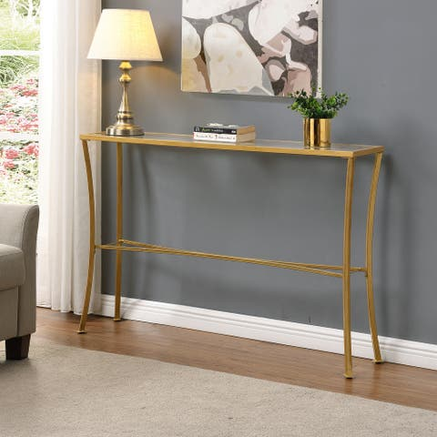 Savoy Antique Gold Glass Top Console Table