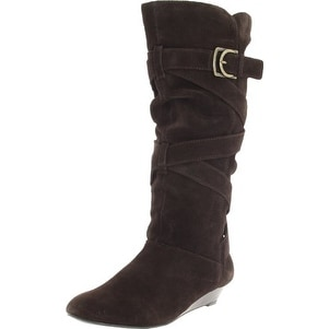 White Mountain Womens Bully Leather Almond Toe Mid-Calf Fashion Boots