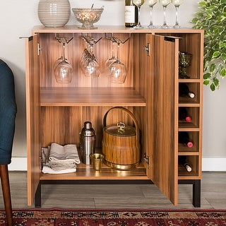 Offex Modern Metal and Wood Bar Cabinet with Wine Storage - Teak - N/A
