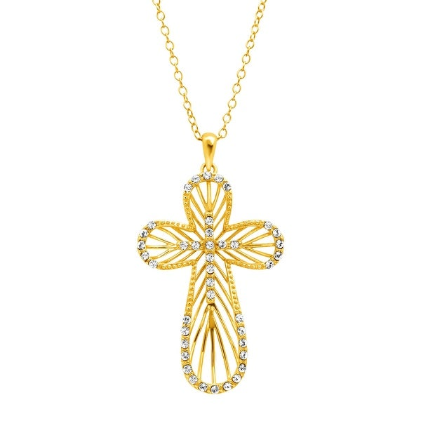 Crystaluxe Concave Cross Pendant with Swarovski Crystals in 18K Gold-Plated Sterling Silver