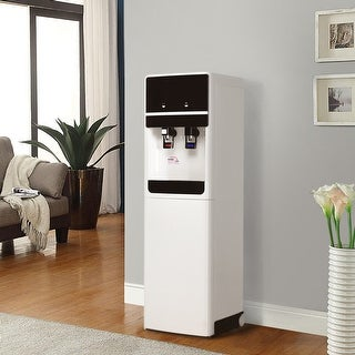 Costway Underlying Stainless Steel Water Cooler Dispenser Cold Hot 5 Gallon Home Office - White + Black