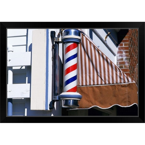 """Barber shop pole"" Black Framed Print"