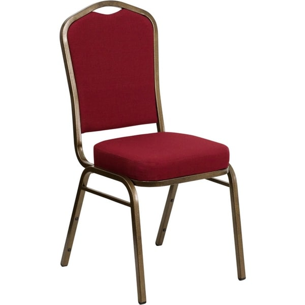 Offex Crown Back Stacking Banquet Chair with Burgundy Fabric and 2.5'' Thick Seat - Gold Vein Frame - N/A