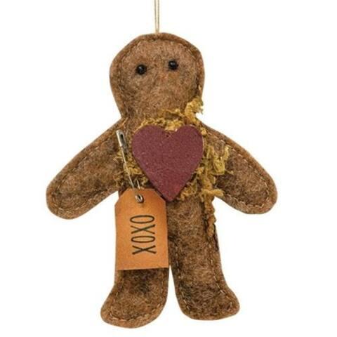 XOXO Gingerbread Man Felt Ornament