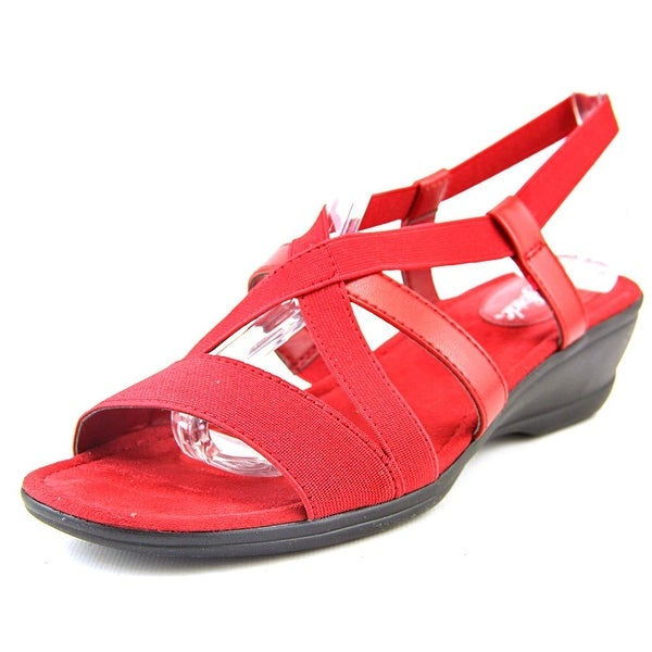 Life Stride Allure Women Open Toe Canvas Red Wedge Sandal