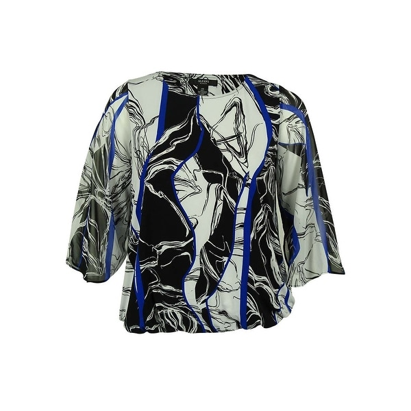 Alfani Women's Chiffon Sleeve Bubble Hem Top - marble lines