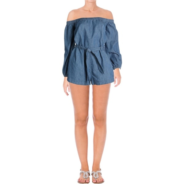 4c67ca94afc Shop Free People Womens Tangled Willows Romper Off-The-Shoulder Long  Sleeves - Free Shipping Today - Overstock - 21224935