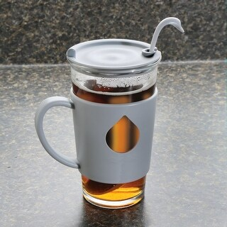 Swan Mug and Spoon - Glass Cup and Silicone Handle - Grey - 16 Ounce - 3 in. x 6 in. x 3 in.
