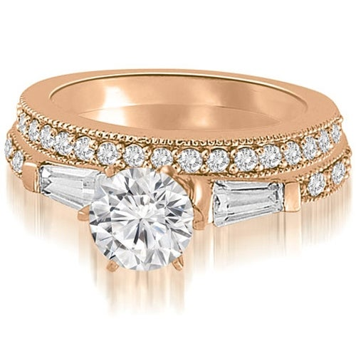 1.45 cttw. 14K Rose Gold Round And Baguette Cut Diamond Bridal Set