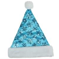 "14"" Blue Sequin Snowflake Christmas Santa with White Faux Fur Brim - Medium Adult Size"