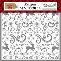 """Echo Park Stencil 6""""X6""""-Reindeer Swirl"""