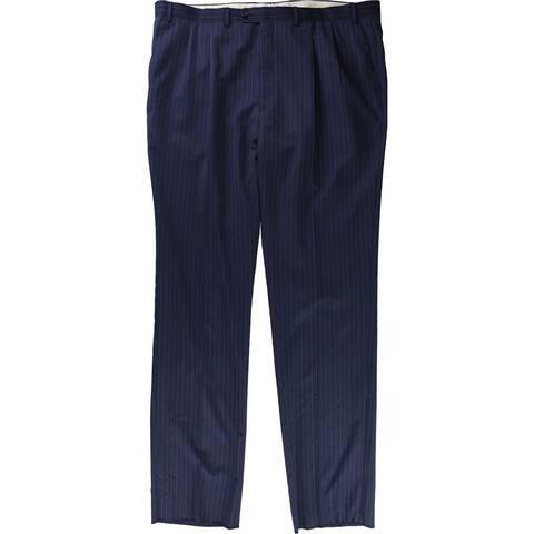 Ralph Lauren Mens Pinstripe Dress Pants Slacks, Blue, 44W x UnfinishedL - 44W x UnfinishedL