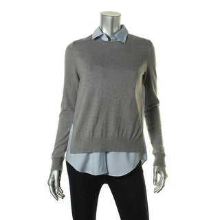 Theory Womens Petites Deverlyn S Cashmere Blend Long Sleeves Pullover Top