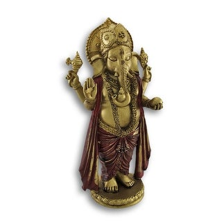 Golden Ganesha Standing Hindu God Statue - Gold