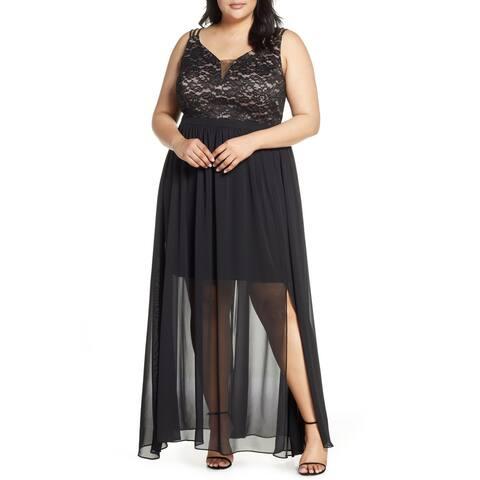 Morgan & Co. Women's Dress Black Size 24W Plus Strappy Lace Gown
