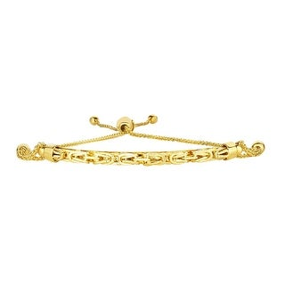 Mcs Jewelry Inc 14 KARAT YELLOW GOLD DIAMOND CUT WHEAT BOLO ARCHED BYZANTINE BRACELET (ADJUSTABLE UP TO 9 1/4 INCHES)
