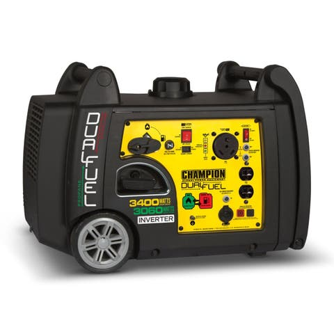 Champion 100263 3100 - 3400 watt Portable Dual Fuel-Powered Electric Start Inverter Generator with RV Ready CARB
