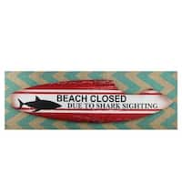 "Beach Closed Shark Bitten Surfboard Linen Burlap Wall Art 24"" - White"