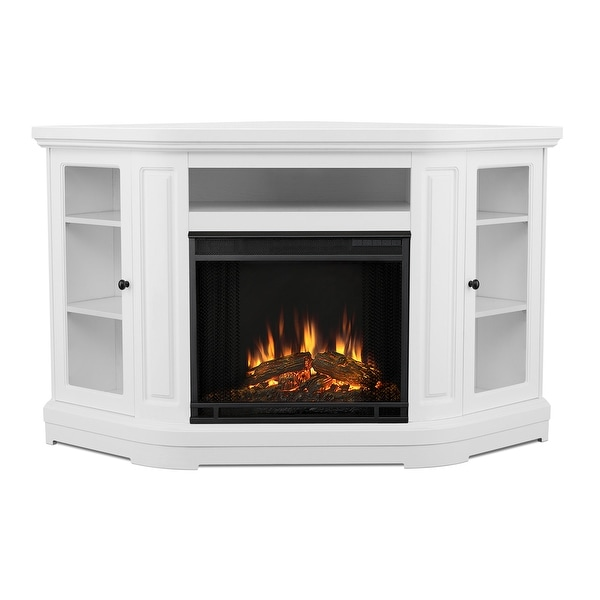 "Real Flame 3850E Windom 4780 BTU 58"" Wide Corner Vent Free Electric Fireplace with Remote Control - White"