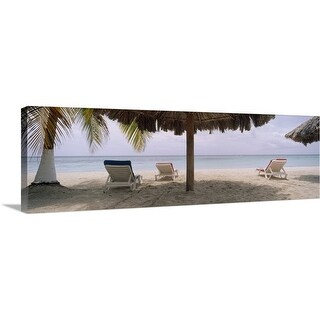 """""""Lounge chairs on 7-Mile Beach, Negril, Jamaica"""" Canvas Wall Art"""