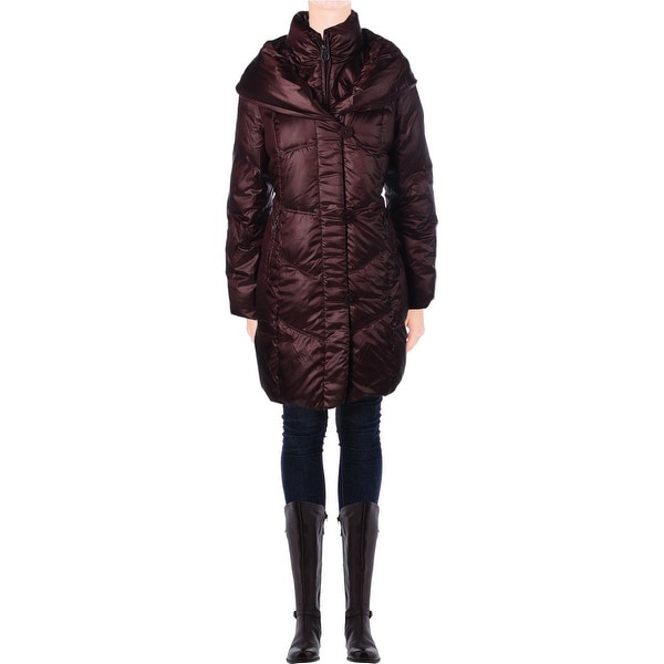 T Tahari Womens Grace Puffer Coat Down Insulated Double Collar